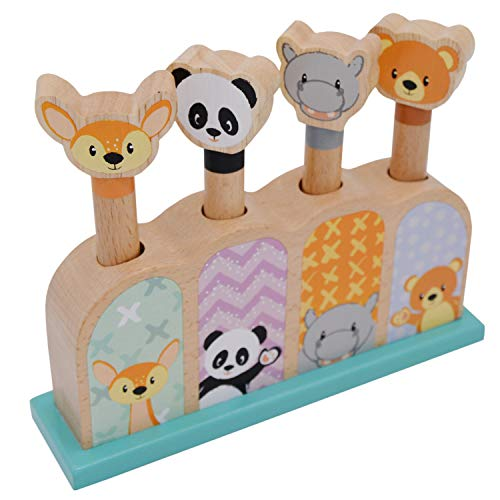jumini Wooden Pop Up Toy Animals - Pop Press and Release - Montessori Cause and Effect Toy - Toddler/Baby Pop Up Toy - Suitable For 12+ Months