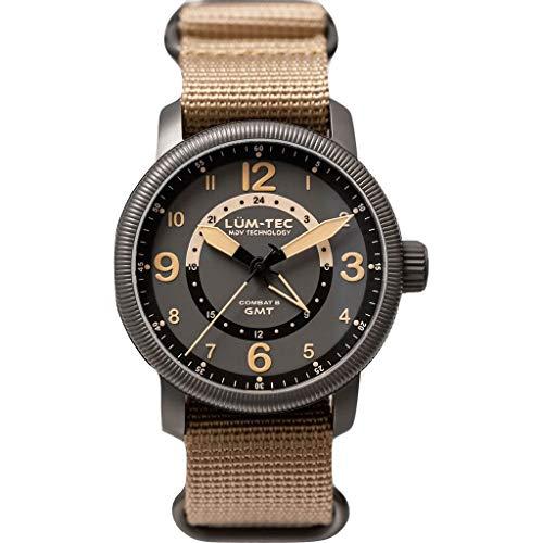 Lum-Tec Comat B45 GMT Wrist Watch Beige   Nylon Strap