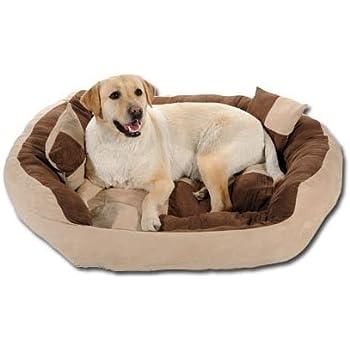 SLATTERS BE ROYAL STORE Reusable Ultra Soft Velvet Round Sofa for Dog Cat (Brown and Cream, XXL)
