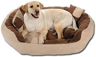 Slatters Be Royal Store Round-Sofa Shape Reversable Dual Ultra Soft Ethnic Velvet Bed for Dog/Cat (Cream Brown, Medium)