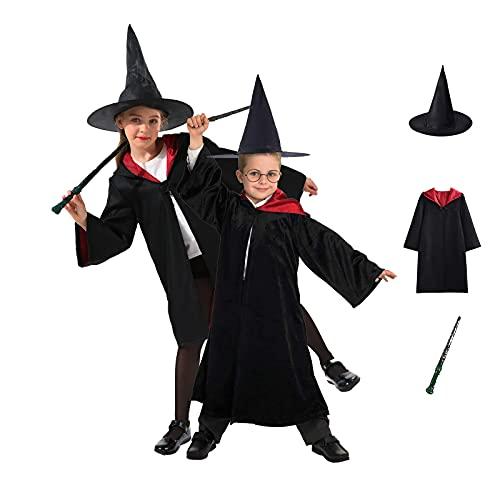 GREAHWD Bambini Costumi Costume da Mago conBacchetta, Mantello,Cappello Magico Set 3 Pezzi