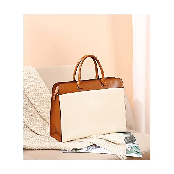 WESTBRONO Briefcase for Women Leather 15.6 inch Laptop Shoulder Bags Office Work Messenger Bag