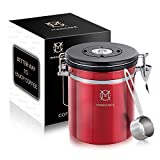 Magicafé Coffee Canister With Scoop - with Co2 Valve Airtight Coffee Bean Grounds Storage Container Red Medium 16oz