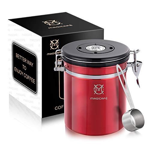 Magicafé Kaffeedose mit Schaufel – mit CO2-Ventil, luftdicht, für Kaffeebohnensatz, Vorratsbehälter, rot, Größe M, 473 ml