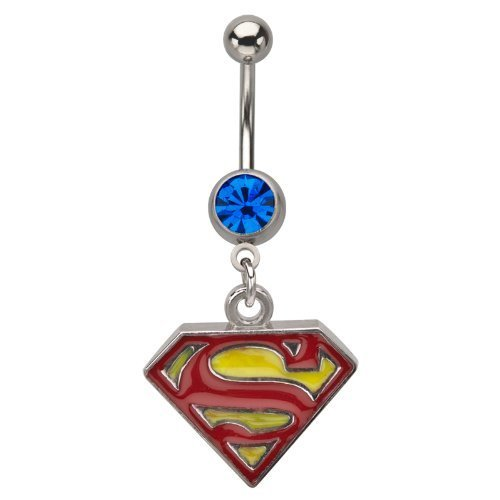 Superman Belly Ring Surgical Steel with Blue Cz Stone 14g (1 Piece) Nickle Free