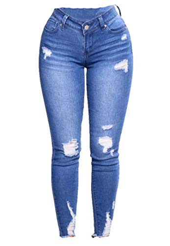 Women's Butt Lifting Skinny Jeans High Waist Denim Jeans Stretchy Distressed Slimming Pants Destroyed Ripped Jean (Blue,Large)