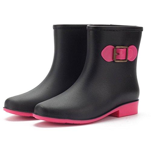 KENO Wasser-Stiefel, Elegante Wasserdichte Stiefel/Gummi-Stiefeletten für Frauen, geeignet für schlechte Wetter- oder Gartenarbeit, etc. - Schwarz, Größe 39