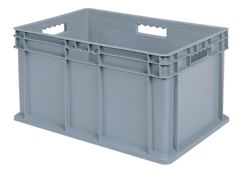 Akro-Mils 37682 Plastic Straight Wall Container Tote with Solid Sides and Solid Base, (24-Inch x 16-Inch x 12-Inch), Gray, (3-Pack)