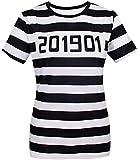 COSAVOROCK T-Shirts Costume Déguisement de Prisonnier de Femmes (XL, Rayé)