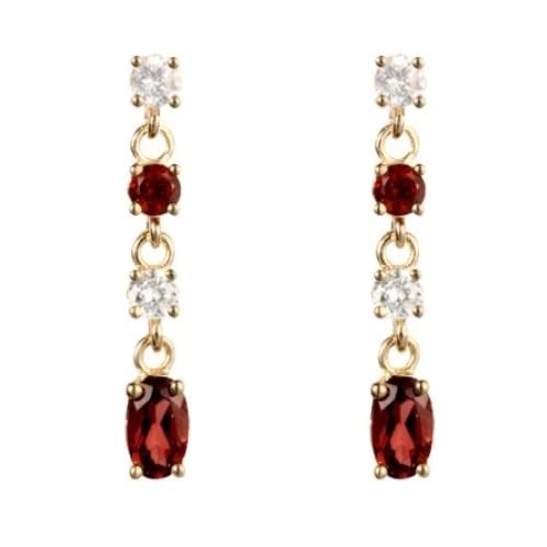 e6ea2eb73 9ct Yellow Gold Real Garnet & White CZ Drop Earring