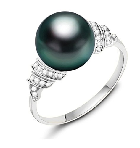 Gowe Salzwasser Pearl Ring 11–12mm 9K Gold Schwarz Pearl Ring Tahiti-Perle Hochzeit Ring