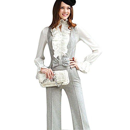 Loalirando Viktorianisch Stil Vintage Lolita Langarm Lotus Rüschenbluse Tops Business Party (S, Weiß)
