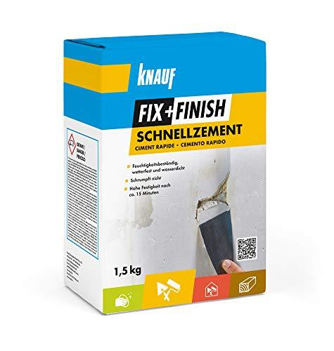 Knauf 594053 FIX + Finish Schnellzement zum Abdichten Lecks – spezieller Zement-Mörtel für Innen-und Außenbereich, witterungsbeständig und Wasser-dicht, weiß, 1,5-kg, grau, 1,5 kg