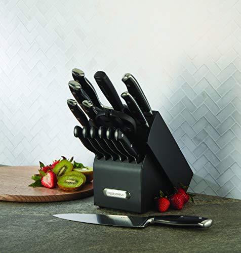 Farberware 15-Piece Forged Triple Riveted Knife Block Set, Black