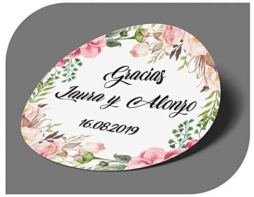 CrisPhy Pegatinas Personalizadas Boda con Nombre y Fecha, Etiquetas Adhesivas para Invitacion Boda, Bautizo, Compromiso, Cumpleaños, Fiesta, Navidad, Vintage, Sellos (Modelo 15)