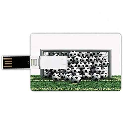 USB-Sticks 16GB Kreditkartenform Sport-Dekor Memory Stick-Bankkartenstil Tornetz voller Fußbälle auf dem Fußballplatz Schoolyard Victory Wasserdichte stift daumen schöne jump drive u festplatte gesche