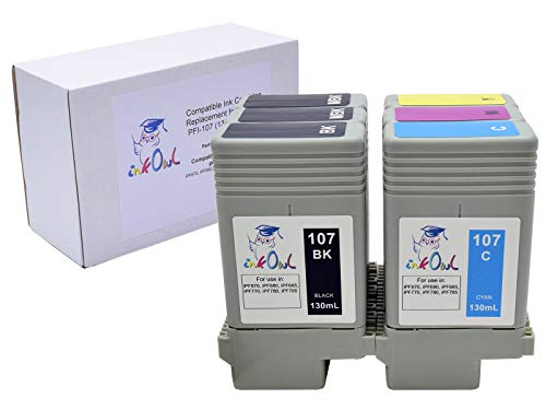 InkOwl Compatible Ink Cartridge Replacement for Canon PFI-107 (130ml, 6-Pack) - iPF670, iPF680, iPF685, iPF770, iPF780, iPF785 Printers