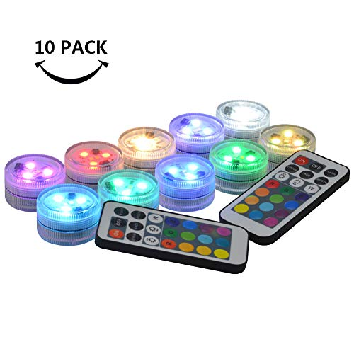 10 Pack Small Submersible LED Lights with Remote, Battery Operated Color Changing LED Tealight...