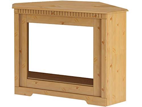 Kaminumrandung Kaminumbau Kamin Landhaus Stil - Dekokamin Eckkamin Kiefer massivholz 122 x 55 x 90 cm (gebeizt geölt)