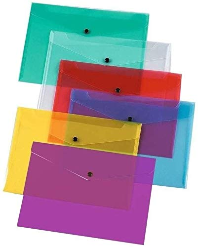 12 File Folders A4 Document Wallets Folder for Documents Papers & Notes Transparent Colors