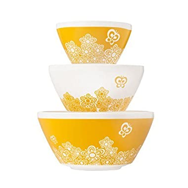 Pyrex Vintage Charm Golden Days 3 Piece Mixing Bowl Set, inspired by Pyrex