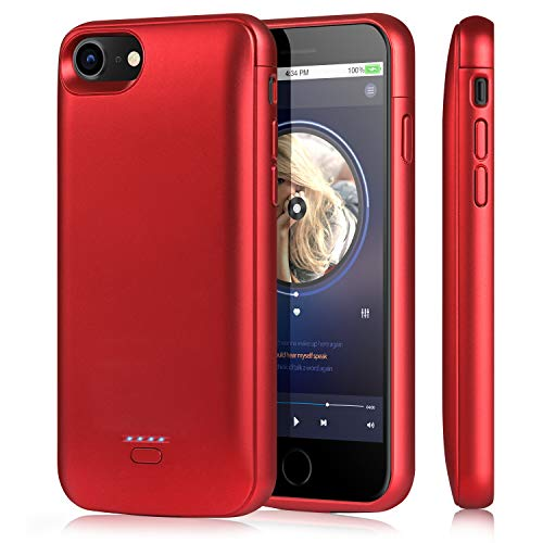 TAYUZH Battery Case for iPhone 6/6s/7/8/SE 2020, 4000mAh Slim Rechargeable Magnetic Charging Case Portable Protective Charger Case for iPhone 6s/7/8(4.7 Inch) Compatible Lightning Headphones - Red