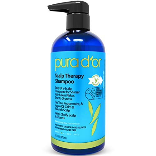 PURA D'OR Scalp Therapy Shampoo - Hydrates & Nourishes Scalp - Scalp Care Shampoo For Itchy Flaky Scalp w/ Tea Tree, Peppermint, Patchouli, Cedarwood, Clary Sage, Argan Oil 16oz (Packaging may vary)