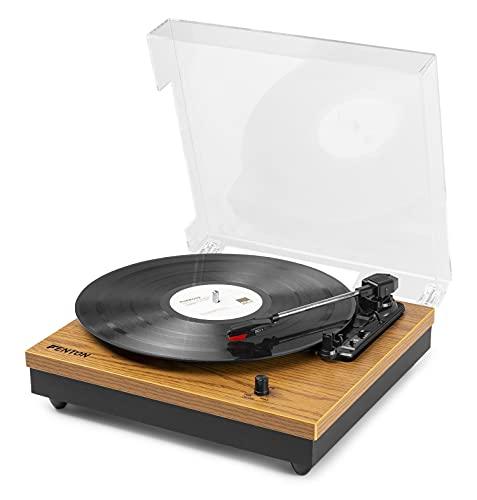 Fenton RP112L Platine Vinyle Bluetooth à 3 Vitesses – Bois Clair, Tourne Disque avec Haut-parleurs intégrés, adaptée pour disques 33, 45 et 78 Tours, Platine Vinyle Bluetooth Design avec Capot