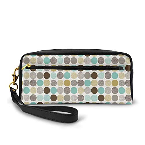 Pencil Case Pen Bag Pouch Stationary,Abstract Dots Pattern in Pale Colors Ornamental Illustration in Geometric Themes,Small Makeup Bag Coin Purse