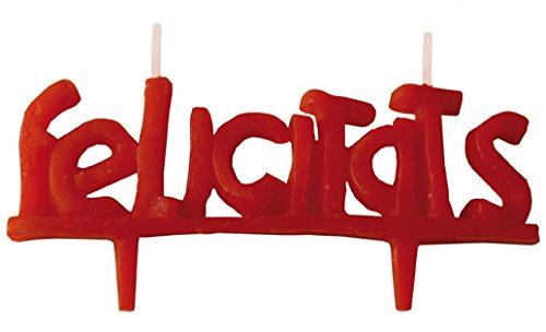 Velas cumpleaños FELICIDADES-4x11, 5 cm Vela de cumpleaños felicidades en Color Rojo. En Castellano y n catalán Decora Tus Pasteles de una Forma Diferente y Divertida. (FELICITATS)