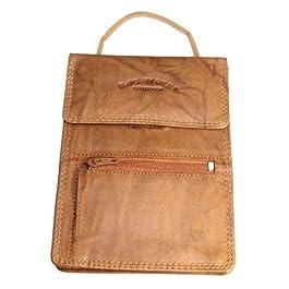 Bag Street – 202 Herren Bag Street Geldbörse Leder Brustbeutel Brusttasche Umhängetasche Braun Camel Schwarz (Braun…
