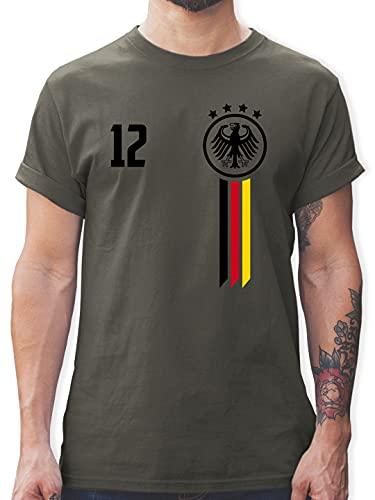 Fussball EM 2021 Fanartikel - 12. Mann Deutschland EM - XXL - Dunkelgrau - Deutschland Tshirt Herren - L190 - Tshirt Herren und Männer T-Shirts