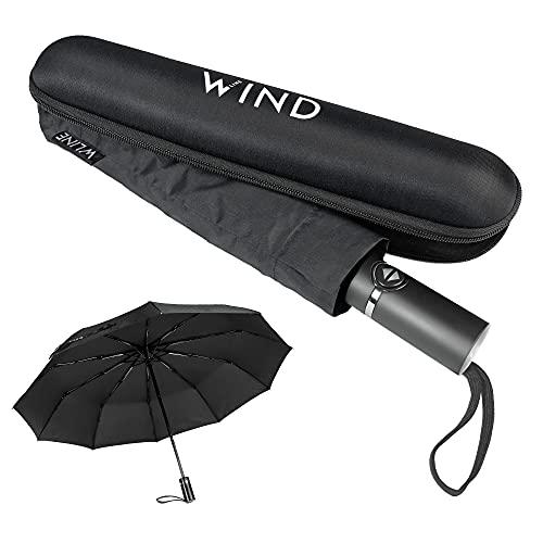 WLine Wind Mini Ombrello Pieghevole - Apertura e Chiusura Automatica, Stoffa Teflon Anti UV, Struttura Ultraresistente, Custodia, 104cm di Diametro (Nero con Custodia)