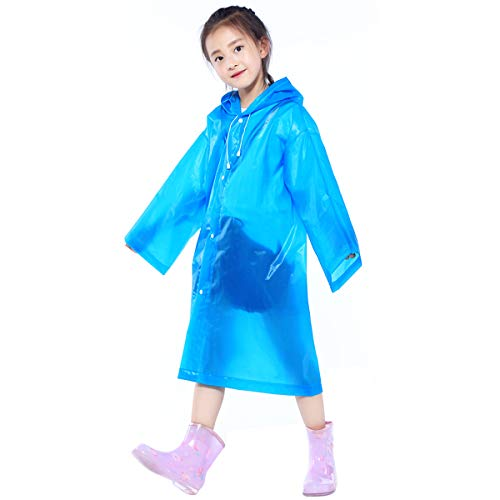 Kinder Wasserdicht Regenponcho, Klar EVA Regenmäntel mit Kapuze für Mädchen Jungen, Kleinkind Regenjacke Regencape, Wiederverwendbar Kinder Regenschutz für Outdoor Radfahren Wandern Camping (Blau)