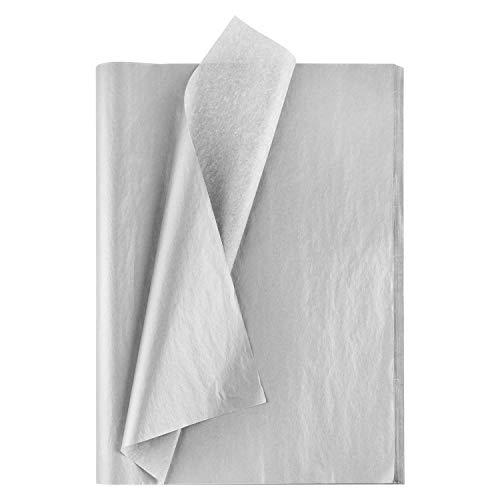 MIAHART 50 Blatt Silber Seidenpapier Bulk 20X14 Zoll Metallic Wrap Paper Wrapping Zubehör Wrap für Hochzeitsdekor DIY Shredded Fill Confetti