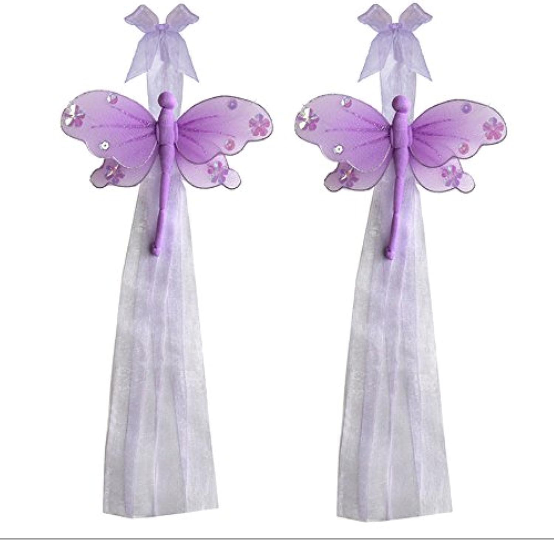 Dragonfly Curtain Tiebacks Purple Lavender Jewel Nylon Dragonflies Pair Set Decorations Window Treatment Holdback Sheer Drapes Holder Drapery Tie Back Baby Nursery Bedroom Girl Room Kid Decor Home DIY