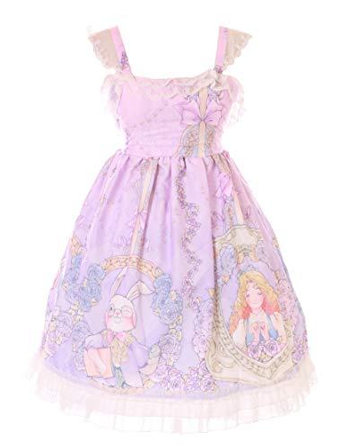 Disfraz kawaii JSK-55 lila Alicia Wonderland conejo mago gato rosas con vestido pastel, gtico, lolita