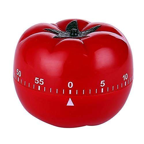 Generic Cute 1-60min 360 Degree Rotating Tomato Shape Timer, Mechanical Kitchen Ring Alarm Tool for Cooking Food Countdown Timer Clock(Battery not Included) (Red)