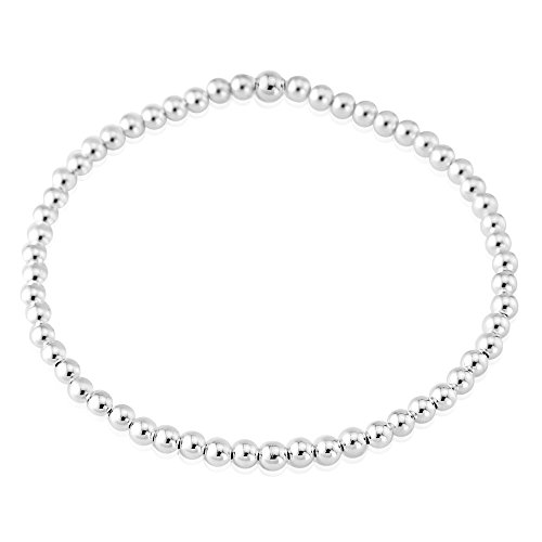 Sterling Silver 925 3mm Beaded Bracelet
