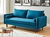 HOMIFAB Canapé 3 Places Scandinave en Tissu Bleu Canard - Collection Joy