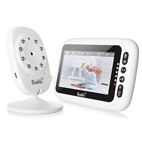 """Babyphone mit Kamera und Audio ohne WLAN, 2,4 G Drahtlose Sichere Verbindung, 4,3"""" Digitalanzeige, 2-Wege-Talk, Nachtsicht, VOX, Temperaturmonitor, 8 Schlaflieder, Lange Akkulaufzeit"""