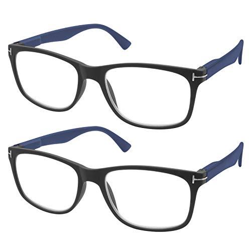 TBOC Gafas de Lectura Presbicia Vista Cansada - [Pack 2 Unidades] Graduadas +3.00 Dioptrías Montura de Pasta Negra Mate Patillas Azules de Diseño Moda Hombre Mujer Unisex Lentes Aumento Leer V