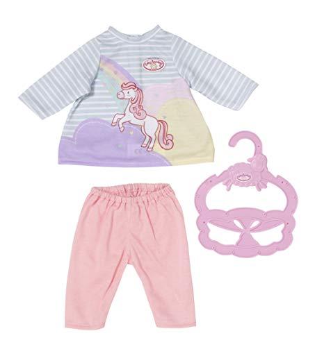 Zapf Creation 704134 Baby Annabell Little Sweet Kleid 36 cm - Pferde Puppenkleid mit rosa Puppenleggins und Kleiderbügel