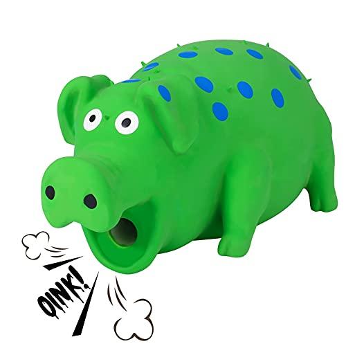 Popuppe Hund Kauspielzeug,Hunde Schwein Spielzeug,Natürliches Latex Gummi Zahnbürste Haustierspielzeug für mittelgroße große Hündchen