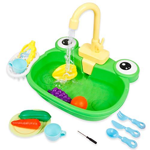 Ruibytree Juguete de cocina para fregadero, juguetes de agua para niños con lavavajillas electrónico, accesorios de juego de fingir y...