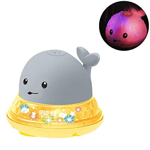 Daxoon – Juguete flotante para baño en forma de ballena con aerosol de agua, juguete de inducción automático con luz LED para bañera de bebé