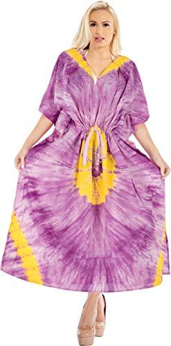 LA LEELA Mujeres Caftán Algodón túnica Tie Dye Kimono Libre tamaño Largo Maxi Vestido de Fiesta para Loungewear Vacaciones Ropa de Dormir Playa Todos los días Cubrir Vestidos Violeta_X727