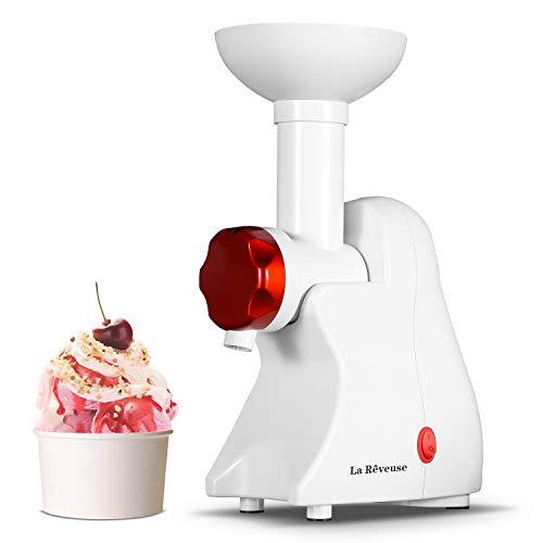 La Reveuse Frozen Dessert Maker, Great for Making Healthy Soft Serve Sherbet, Sorbet, Fruit Ice Cream, Frozen Yogurt for Kids, White
