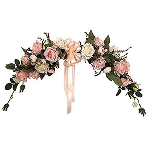 Sonline Artificial Flower Swag 22-Inch Rose Peony Swag Arch Wreath Centerpiece for Wedding Home Room Garden Lintel Decoration