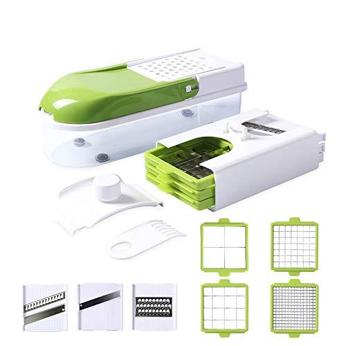 LITING Gemüseschneider Zwiebelschneider Würfeln Hobeln Stifteln Schälen Aufbewahren Multischneider Gemüsehobel Obstschneider Kartoffelschneider Küchenthermometer